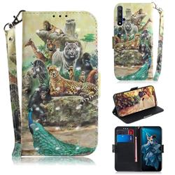 Beast Zoo 3D Painted Leather Wallet Phone Case for Huawei Honor 20