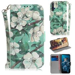 Watercolor Flower 3D Painted Leather Wallet Phone Case for Huawei Honor 20