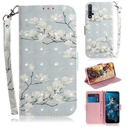 Magnolia Flower 3D Painted Leather Wallet Phone Case for Huawei Honor 20