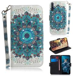 Peacock Mandala 3D Painted Leather Wallet Phone Case for Huawei Honor 20