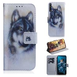Snow Wolf PU Leather Wallet Case for Huawei Honor 20