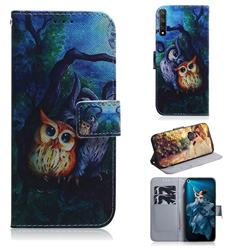 Oil Painting Owl PU Leather Wallet Case for Huawei Honor 20