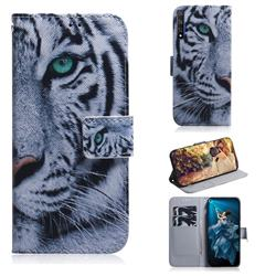 White Tiger PU Leather Wallet Case for Huawei Honor 20