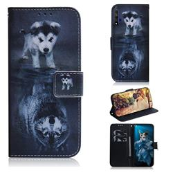 Wolf and Dog PU Leather Wallet Case for Huawei Honor 20