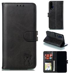 Embossing Happy Cat Leather Wallet Case for Huawei Honor 20 - Black
