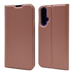 Ultra Slim Card Magnetic Automatic Suction Leather Wallet Case for Huawei Honor 20 - Rose Gold