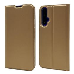Ultra Slim Card Magnetic Automatic Suction Leather Wallet Case for Huawei Honor 20 - Champagne