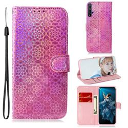 Laser Circle Shining Leather Wallet Phone Case for Huawei Honor 20 - Pink