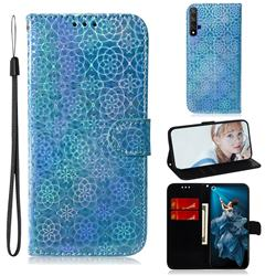 Laser Circle Shining Leather Wallet Phone Case for Huawei Honor 20 - Blue