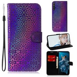 Laser Circle Shining Leather Wallet Phone Case for Huawei Honor 20 - Purple