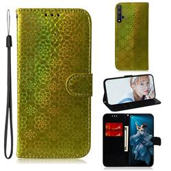 Laser Circle Shining Leather Wallet Phone Case for Huawei Honor 20 - Golden