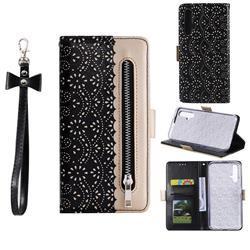 Luxury Lace Zipper Stitching Leather Phone Wallet Case for Huawei Honor 20 - Black