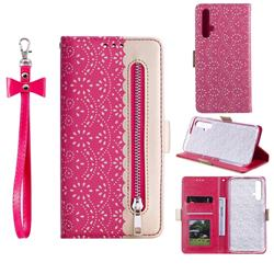 Luxury Lace Zipper Stitching Leather Phone Wallet Case for Huawei Honor 20 - Rose