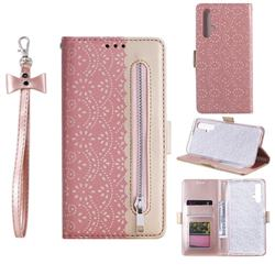Luxury Lace Zipper Stitching Leather Phone Wallet Case for Huawei Honor 20 - Pink