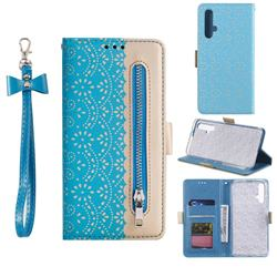 Luxury Lace Zipper Stitching Leather Phone Wallet Case for Huawei Honor 20 - Blue