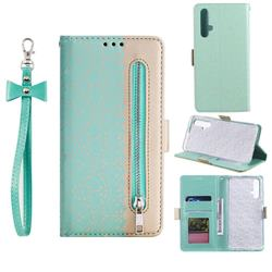 Luxury Lace Zipper Stitching Leather Phone Wallet Case for Huawei Honor 20 - Green