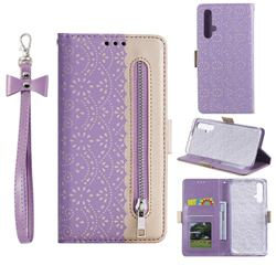 Luxury Lace Zipper Stitching Leather Phone Wallet Case for Huawei Honor 20 - Purple