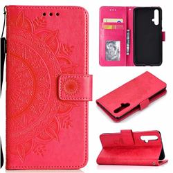 Intricate Embossing Datura Leather Wallet Case for Huawei Honor 20 - Rose Red
