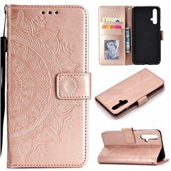 Intricate Embossing Datura Leather Wallet Case for Huawei Honor 20 - Rose Gold
