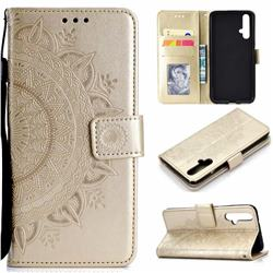 Intricate Embossing Datura Leather Wallet Case for Huawei Honor 20 - Golden