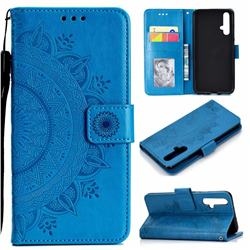 Intricate Embossing Datura Leather Wallet Case for Huawei Honor 20 - Blue