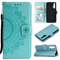 Intricate Embossing Datura Leather Wallet Case for Huawei Honor 20 - Mint Green