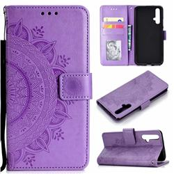 Intricate Embossing Datura Leather Wallet Case for Huawei Honor 20 - Purple