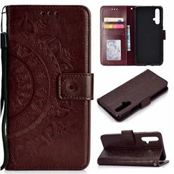 Intricate Embossing Datura Leather Wallet Case for Huawei Honor 20 - Brown
