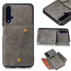 Retro Multifunction Card Slots Stand Leather Coated Phone Back Cover for Huawei Honor 20 - Gray