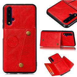 Retro Multifunction Card Slots Stand Leather Coated Phone Back Cover for Huawei Honor 20 - Red