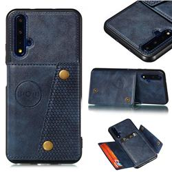 Retro Multifunction Card Slots Stand Leather Coated Phone Back Cover for Huawei Honor 20 - Blue