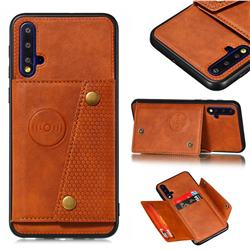 Retro Multifunction Card Slots Stand Leather Coated Phone Back Cover for Huawei Honor 20 - Brown