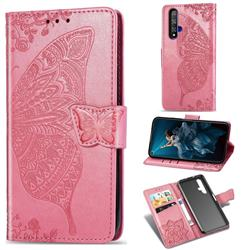 Embossing Mandala Flower Butterfly Leather Wallet Case for Huawei Honor 20 - Pink