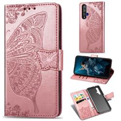 Embossing Mandala Flower Butterfly Leather Wallet Case for Huawei Honor 20 - Rose Gold