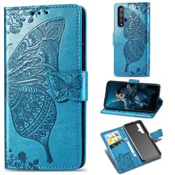Embossing Mandala Flower Butterfly Leather Wallet Case for Huawei Honor 20 - Blue