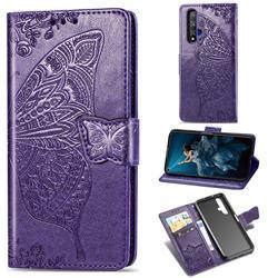 Embossing Mandala Flower Butterfly Leather Wallet Case for Huawei Honor 20 - Dark Purple