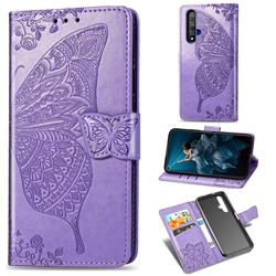 Embossing Mandala Flower Butterfly Leather Wallet Case for Huawei Honor 20 - Light Purple