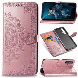 Embossing Imprint Mandala Flower Leather Wallet Case for Huawei Honor 20 - Rose Gold
