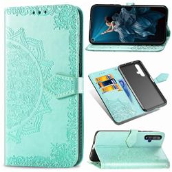 Embossing Imprint Mandala Flower Leather Wallet Case for Huawei Honor 20 - Green