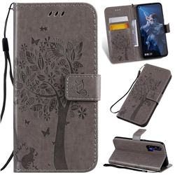 Embossing Butterfly Tree Leather Wallet Case for Huawei Honor 20 - Grey