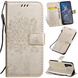 Embossing Butterfly Tree Leather Wallet Case for Huawei Honor 20 - Champagne