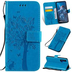 Embossing Butterfly Tree Leather Wallet Case for Huawei Honor 20 - Blue