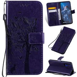 Embossing Butterfly Tree Leather Wallet Case for Huawei Honor 20 - Purple