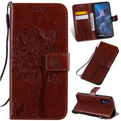 Embossing Butterfly Tree Leather Wallet Case for Huawei Honor 20 - Coffee