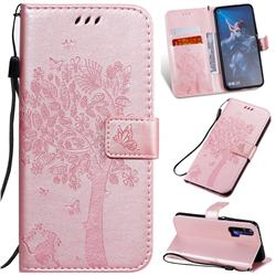 Embossing Butterfly Tree Leather Wallet Case for Huawei Honor 20 - Rose Pink