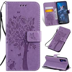 Embossing Butterfly Tree Leather Wallet Case for Huawei Honor 20 - Violet