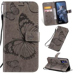 Embossing 3D Butterfly Leather Wallet Case for Huawei Honor 20 - Gray