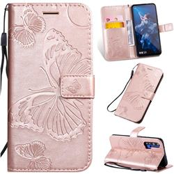 Embossing 3D Butterfly Leather Wallet Case for Huawei Honor 20 - Rose Gold