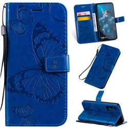Embossing 3D Butterfly Leather Wallet Case for Huawei Honor 20 - Blue