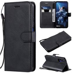 Retro Greek Classic Smooth PU Leather Wallet Phone Case for Huawei Honor 20 - Black